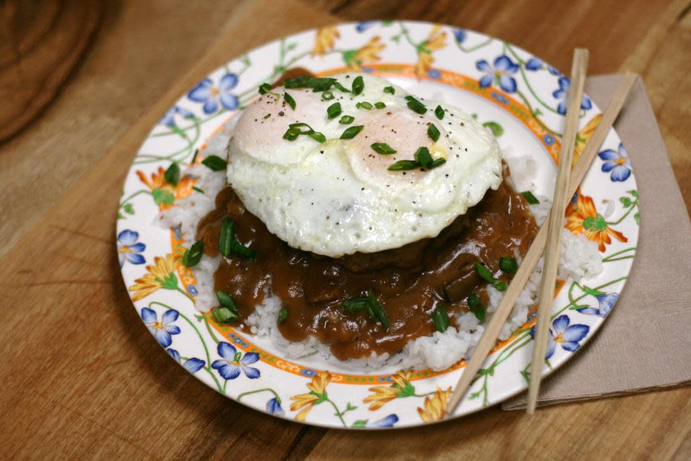 Loco Moco - Burger Patty Over Rice Topped with 2 Eggs and Shiitake Mushroom Brown Gravy