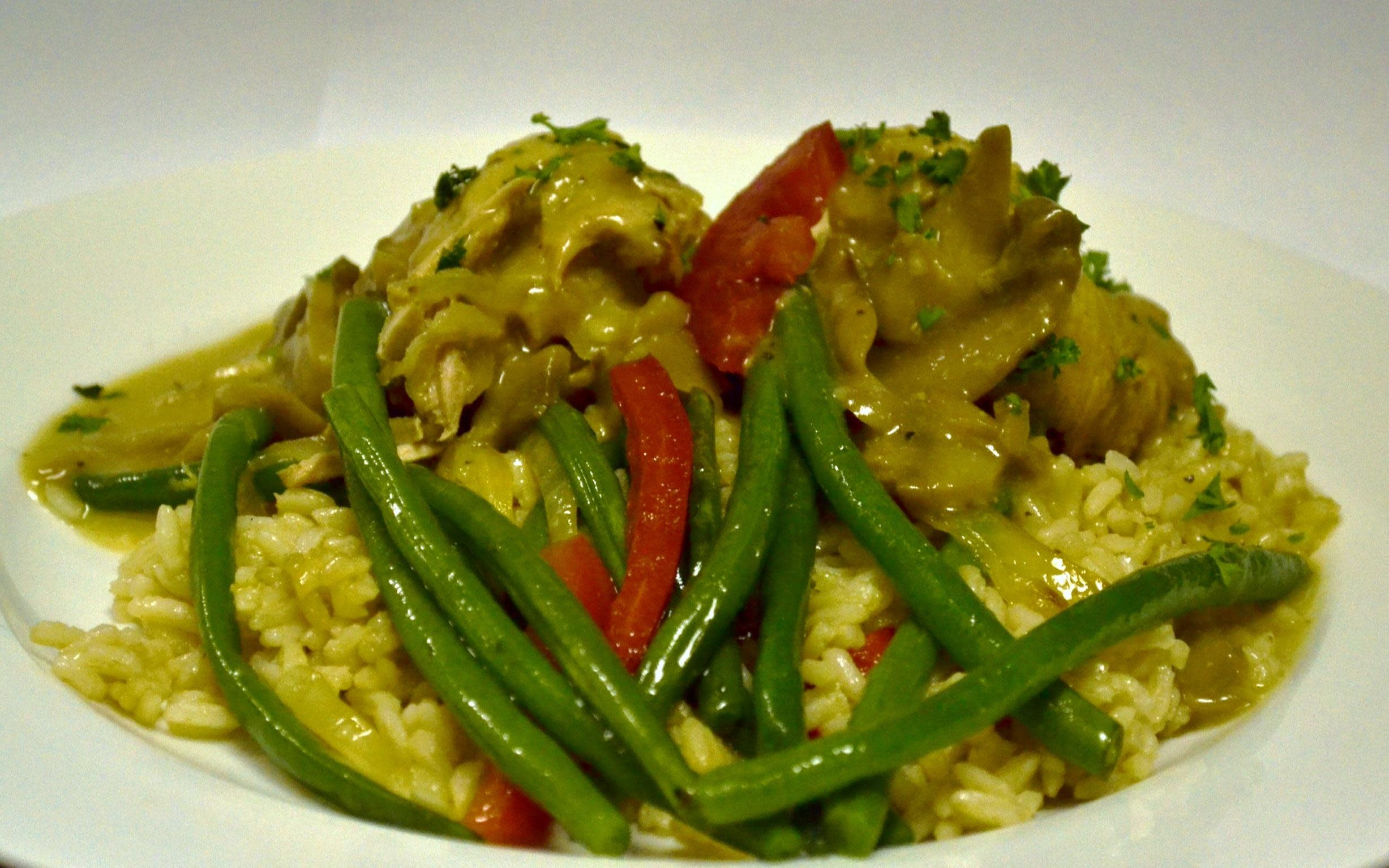 Pork Rouladen with Rice Pilaf & Green Beans