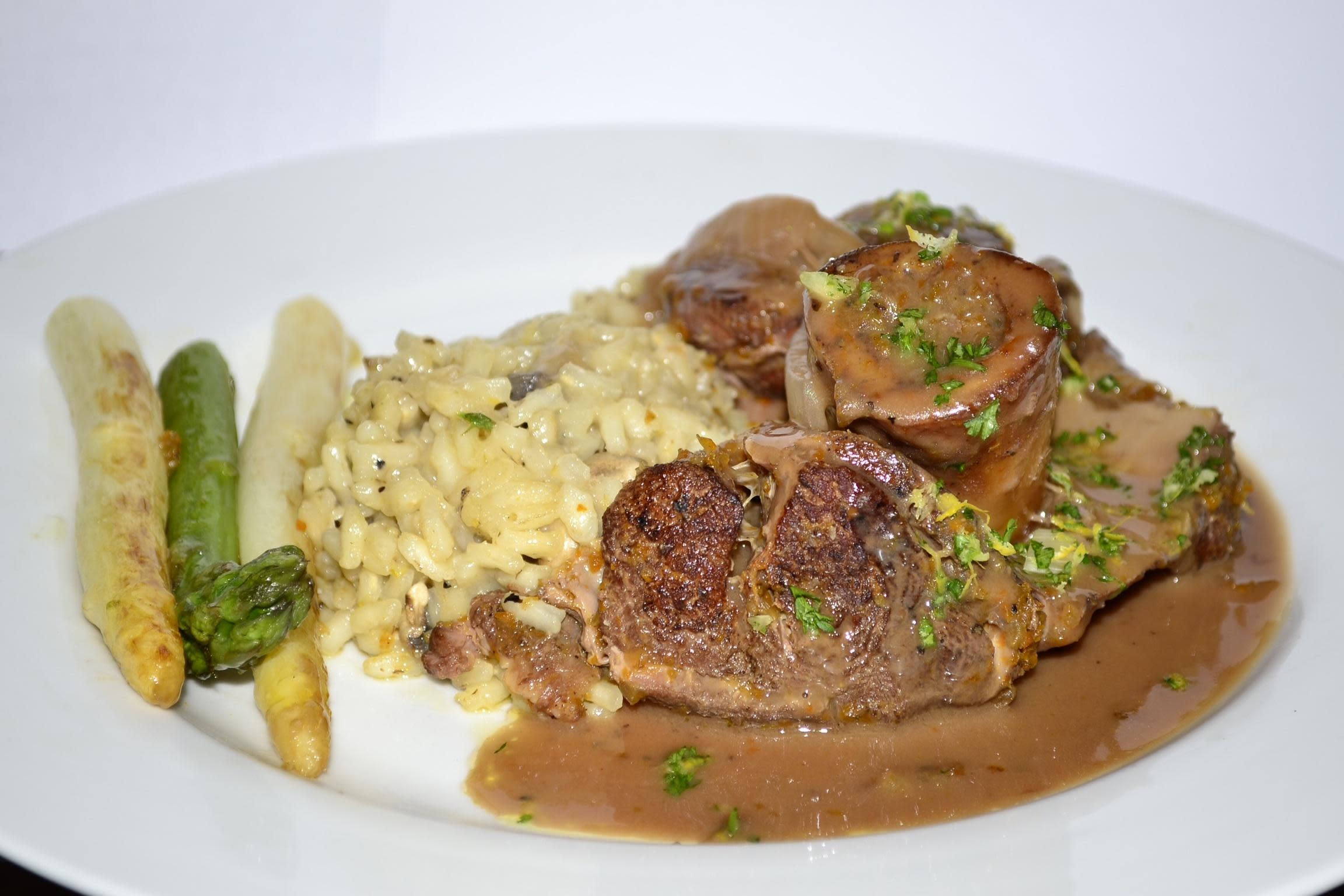 Osso Bucco on a bed of Risotto with Asparagus