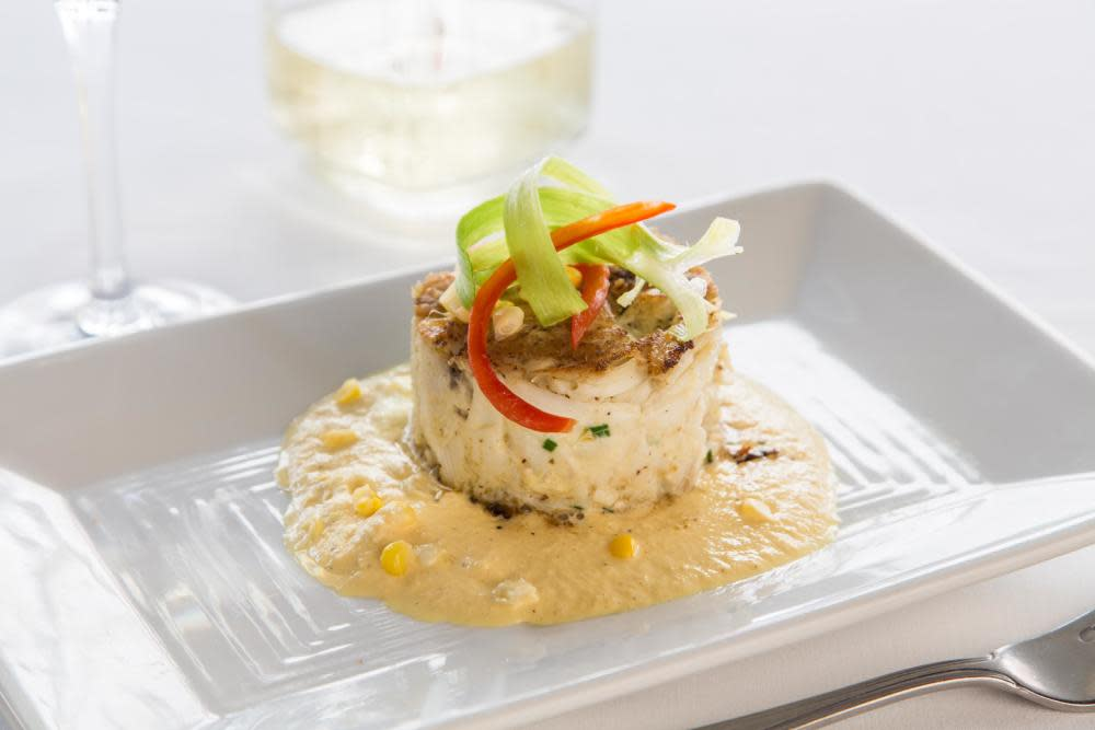 Louisiana jumbo lump crabmeat, white ravigote, roasted corn sauce at Dickie Brennan's Steakhouse