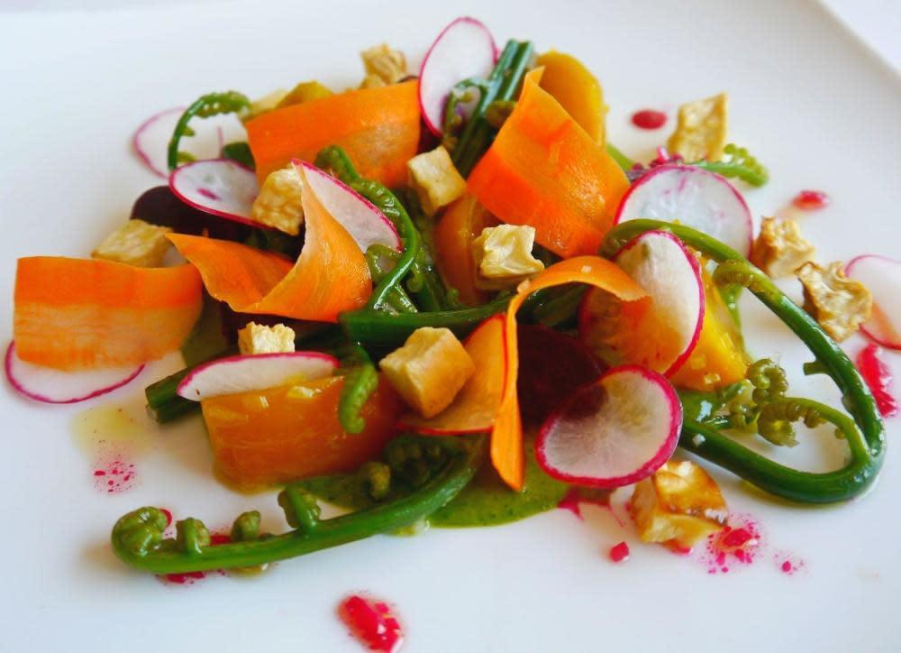 "Meli Melo of upcountry veggies, sumida farm watercress tapenade vinaigrette on ""sauce verte"" at Chef Mavro"