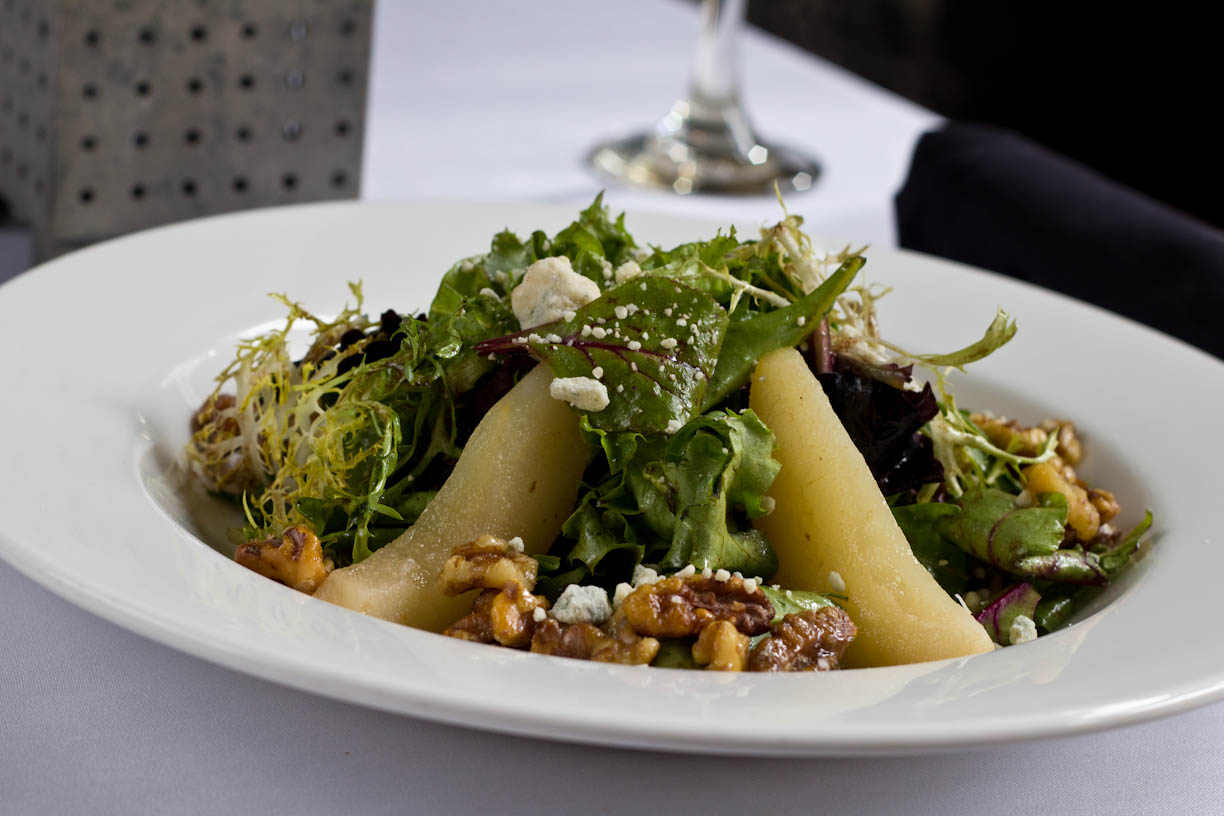Poached pear salad at Aquitaine