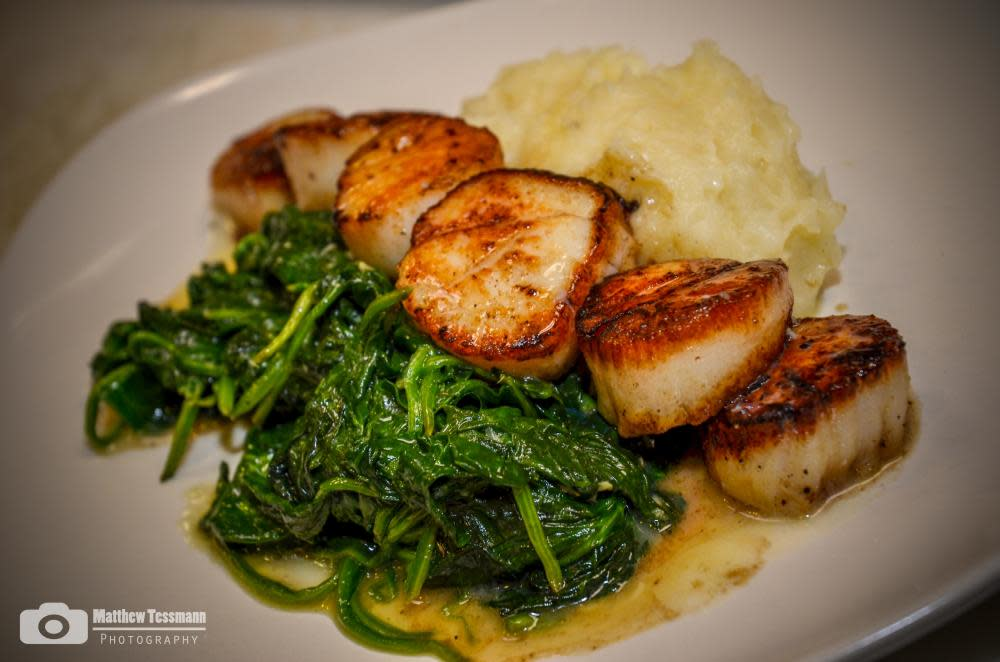 Pan Seared Scallops w/Potato Puree and Wilted Spinach