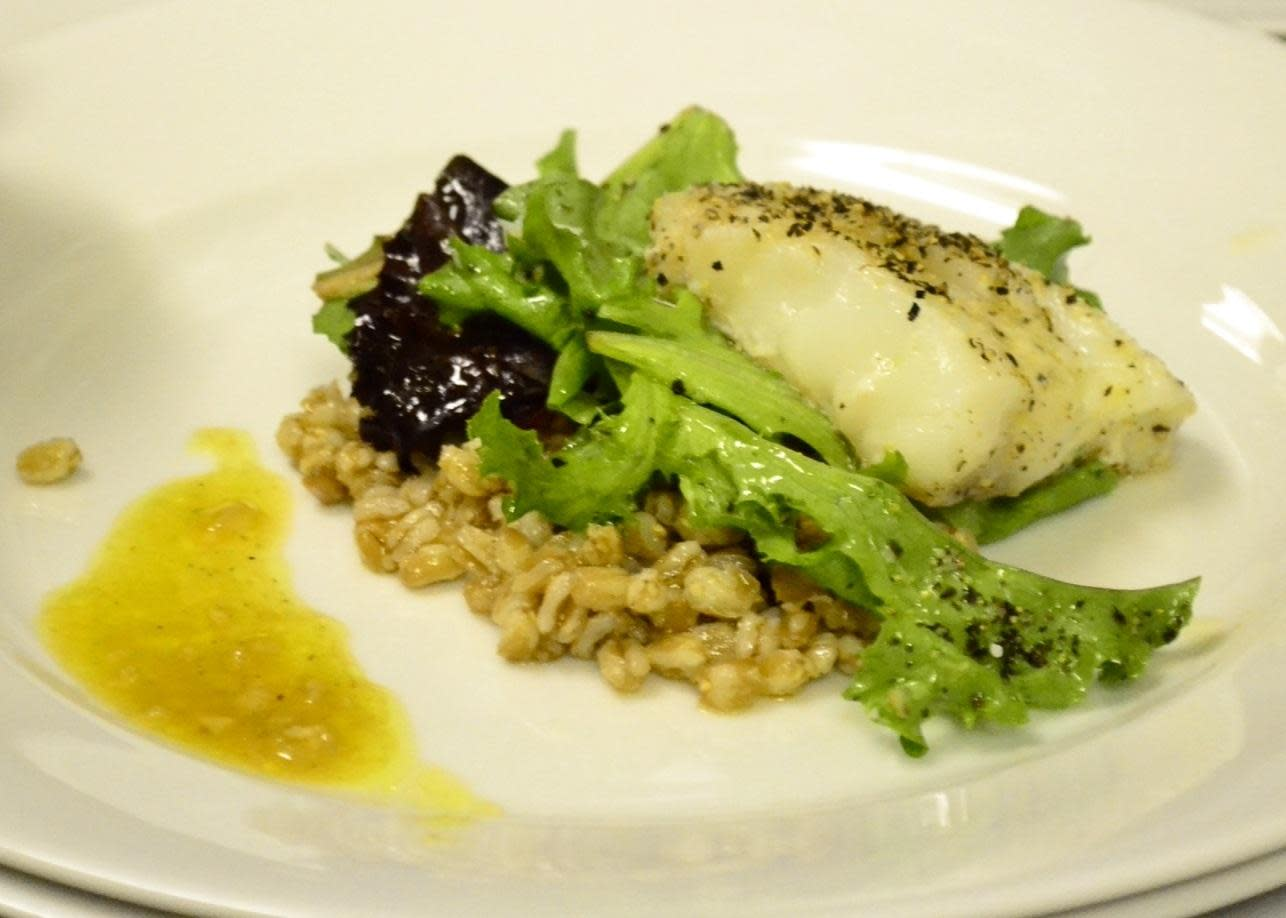 Oven Roasted Cod with Farro and Spring Greens