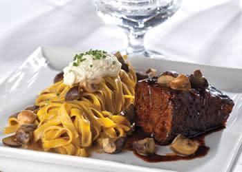 Red Wine Braised Short Rib, Wild Mushroom Tagliatelle, Truffle Ricotta