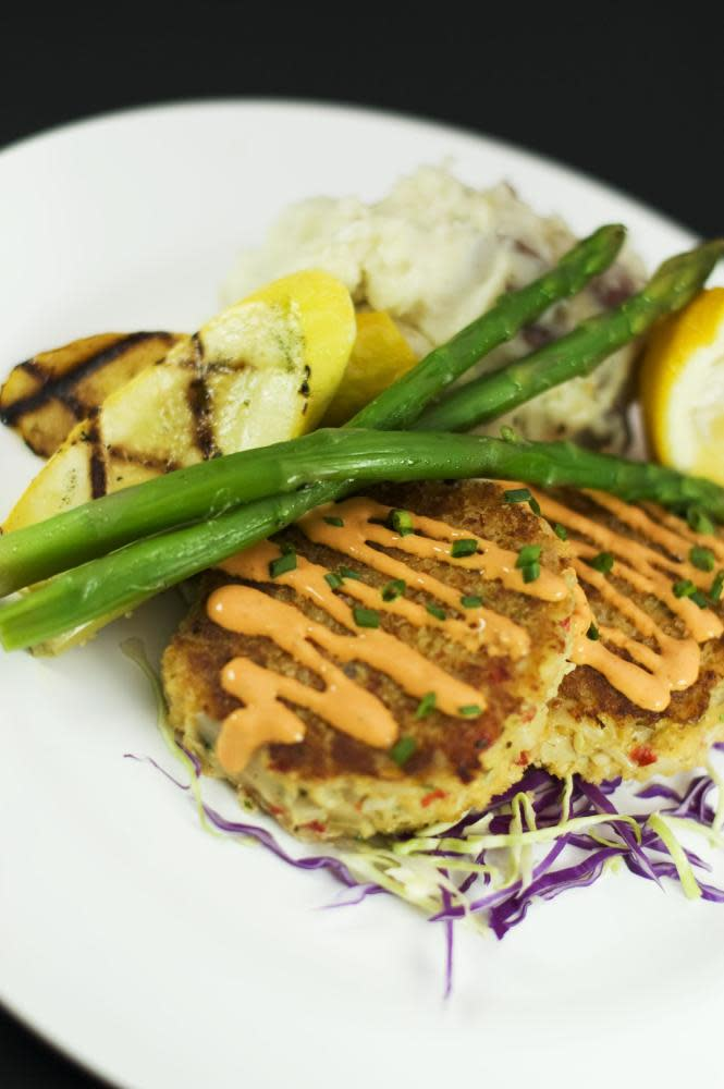 "100% fresh Oregon Dungeness crab cakes with no bay shrimp or ""crab blend"" fillers! at Seasons & Regions Seafood Grill"