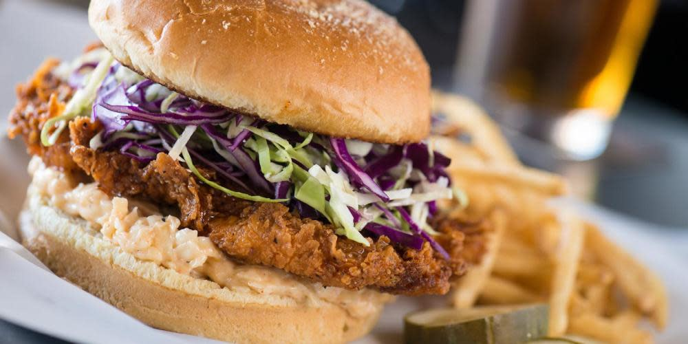 Heat things up with the Nashville Hot Chicken Sandwich and wash it all down with a cold draft beer.