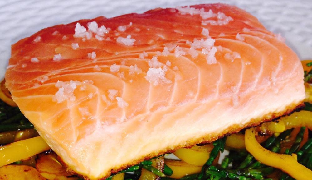 "King salmon à l'unilatérale, greek salad ""moderne""  tzatziki sauce at Chef Mavro"