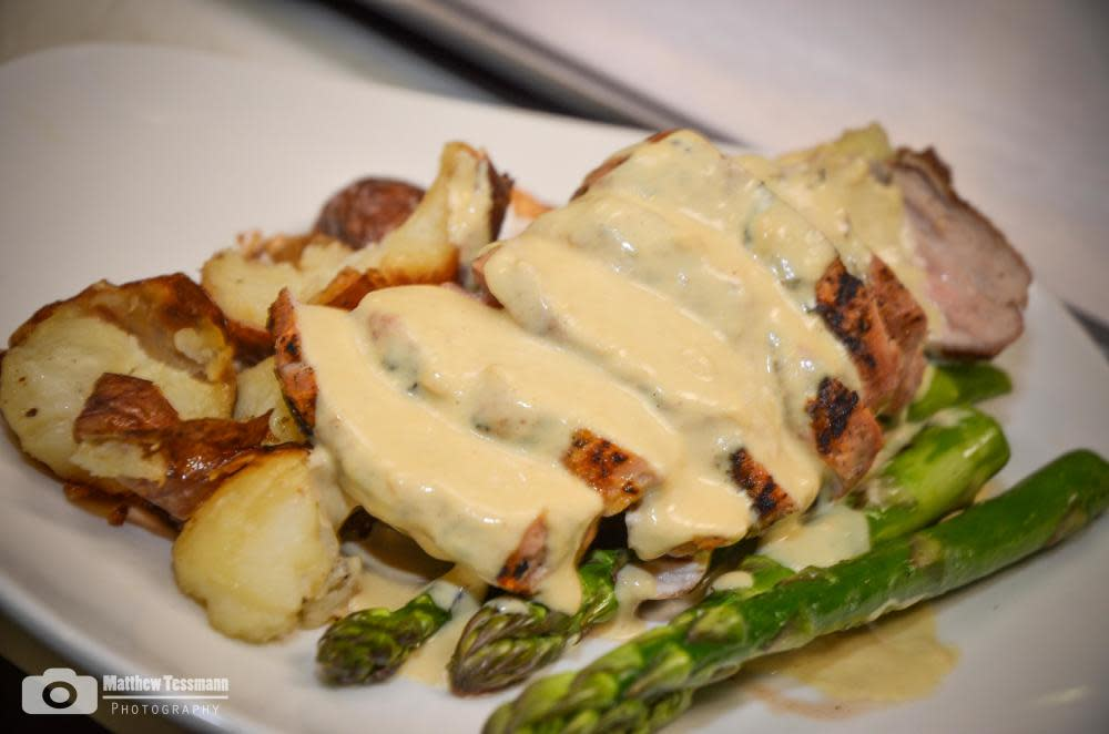 Grilled Pork Tenderloin w/Smashed reds, grilled asparagus and mustard cream sauce