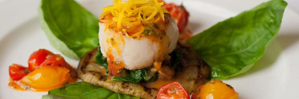 Grilled Sea scallop on Eggplant with Tomato compote