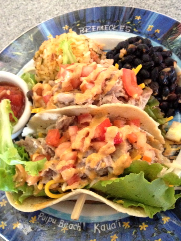 Fresh Kalua Pork Tacos at Brennecke's Beach Broiler
