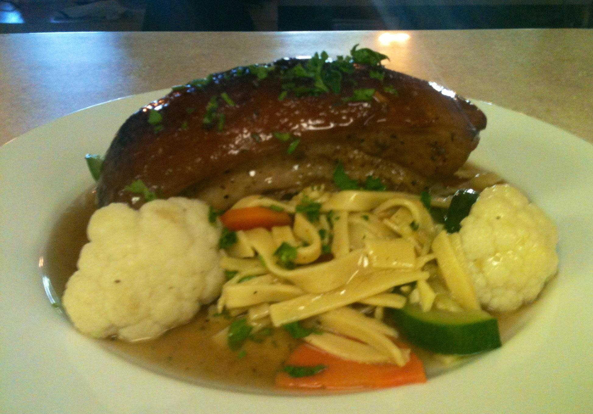 Our Beer Braised Pork Belly with Egg Noodles