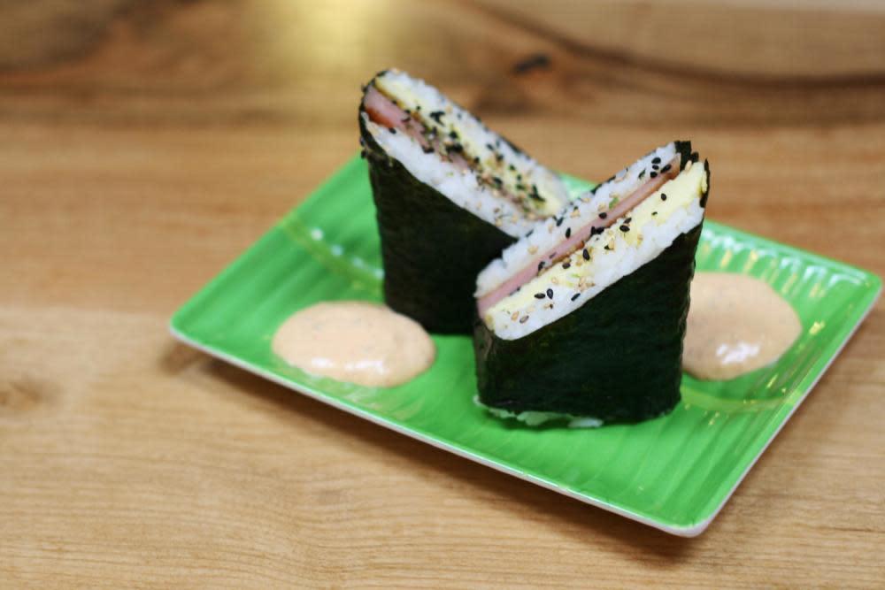 Spam Musubi - Rice, Egg, Spam & Furikake in Nori