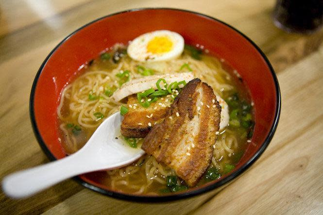 Saimin - Noodles, Roasted Pork Belly, Housemade Fish Cake & Soft-Cooked Egg in Housemade Chicken & Shrimp Dashi