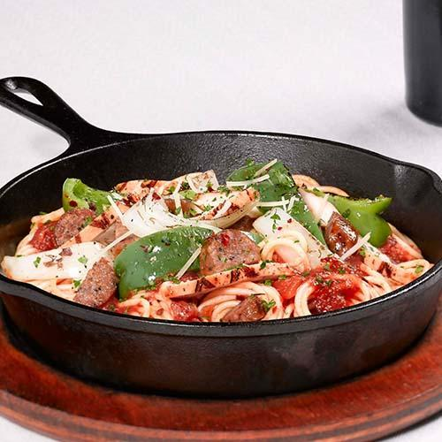 Barbecue Pork And Penne Skillet Recipe: Italian Restaurant Menu Available Online