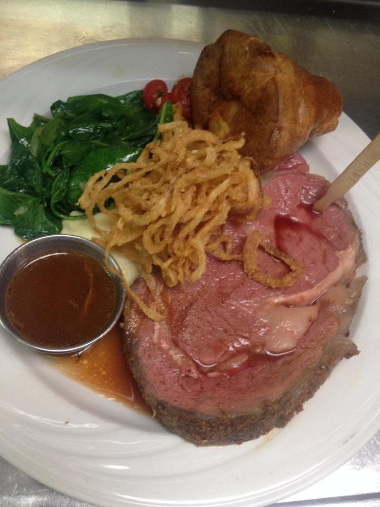 Slow Roasted Prime Rib with all the trimmings at Whaling Station Prime Staeks & Seafood
