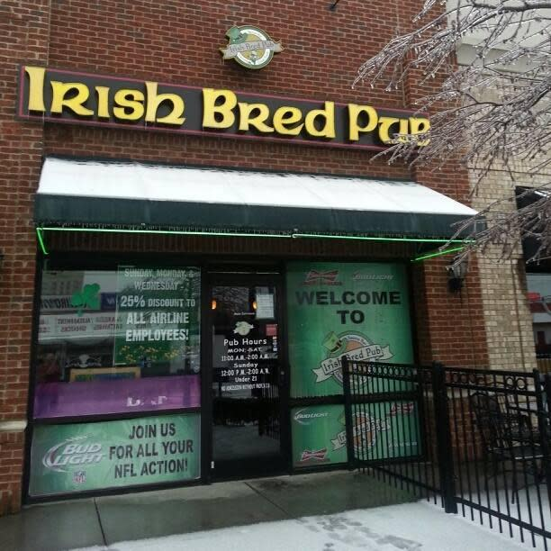 Front of Irish Bred Pub during Ice Storm 2014. Come rain or shine we are always open. at Irish Bred Pub