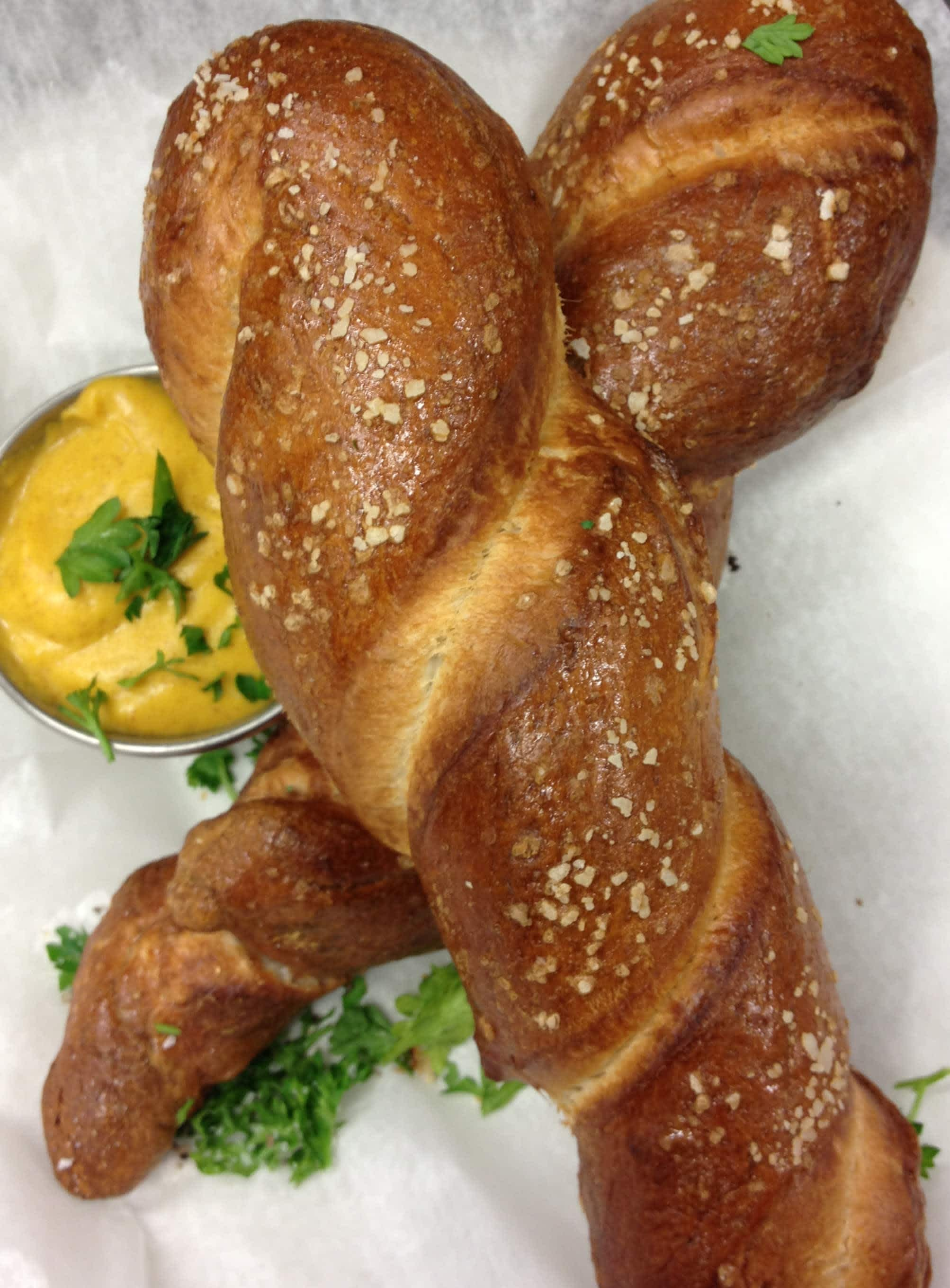 Homemade Pub Pretzels w/Dijon Cheddar Cheese Sauce at The Waterfront Pub and Eatery