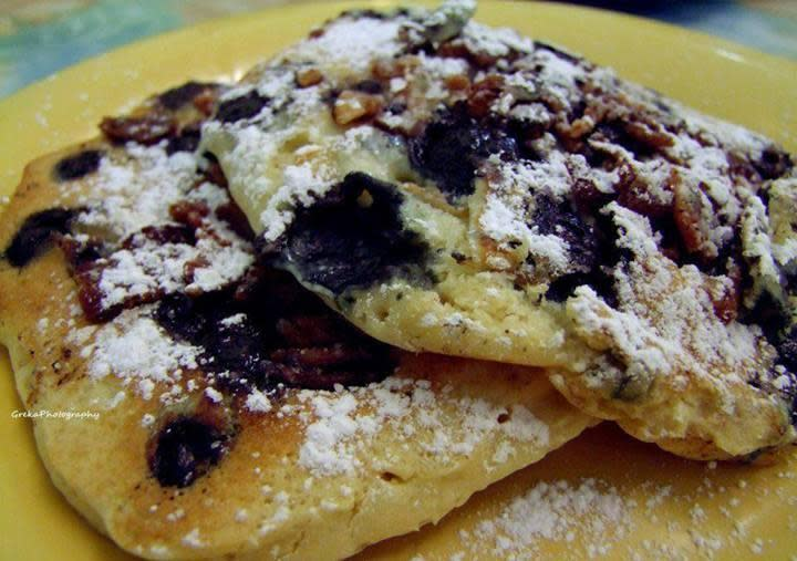 Bacon blueberry pancakes at Toula's Trailside Cafe
