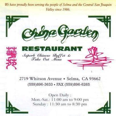 China Garden Menu Reviews Selma 93662