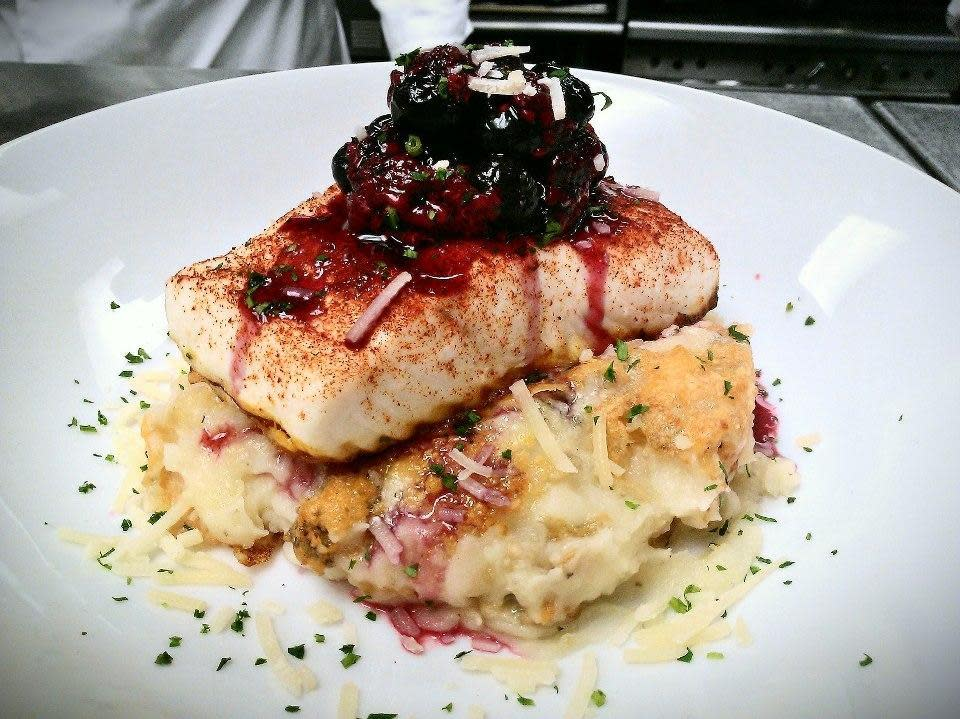 Halibut with Three-Cheese Potato Fondue and Macerated Berries at Acqua