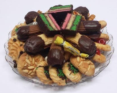 Assorted Fresh Butter Cookie Tray with Imported Italian Candies at Veniero's Pasticceria & Caffe