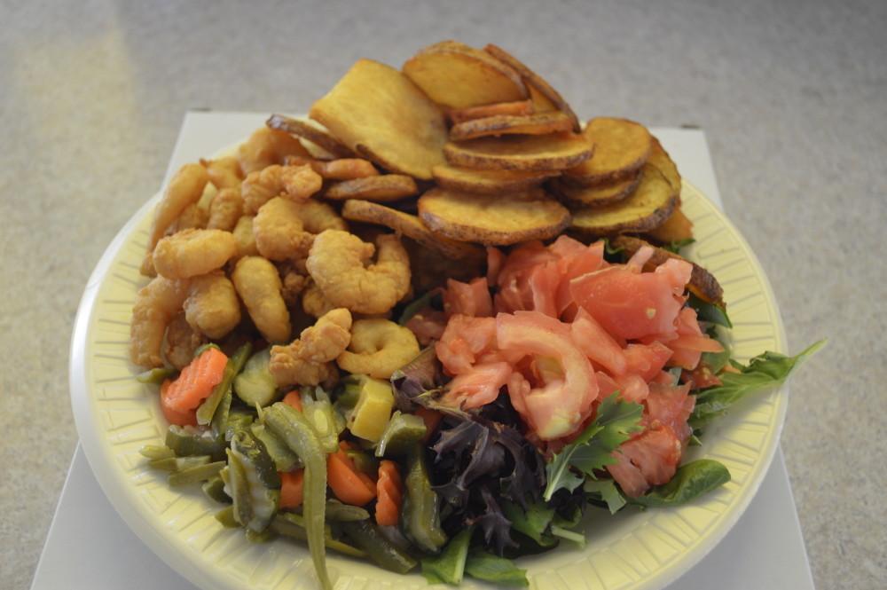 shrimp dinner at Mojo's