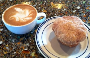 latte & donut muffin at The Fountain Bistro & Drive-thru
