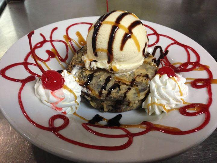 "Try our famous ""Fried Moon Pie"" with ice cream topping! at John A's Little Palace"
