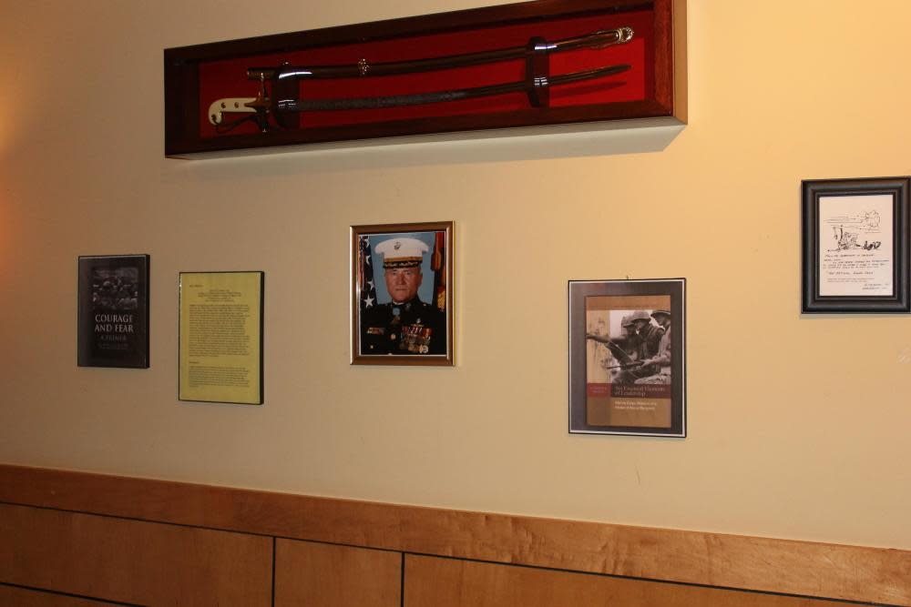 Col Wesley L Fox's wall; 43 yrs in the USMC from private to Colonel, from Korea through Viet Nam at Indochine
