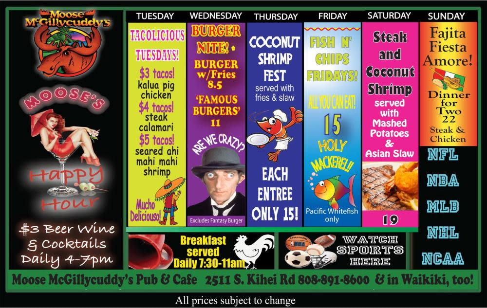 Nightly Dinner Specials at Fred's Mexican Café