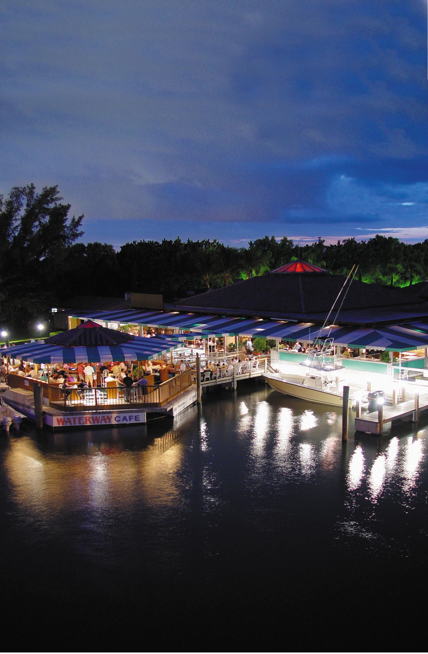 night shot at Waterway Cafe