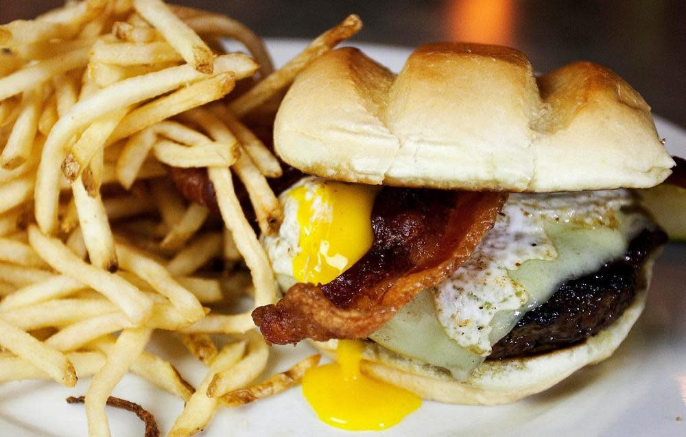 Local Yokel - Ohio swiss cheese   Ohio thick-cut bacon   fried local egg at The Rail