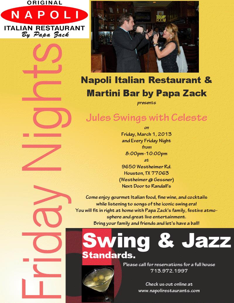 Live Jazz Performances every Friday Night! 8pm at Napoli Flying Pizza