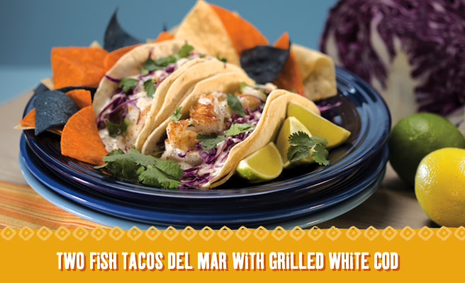 Fish Tacos Del Mar at Blue Burrito Grille