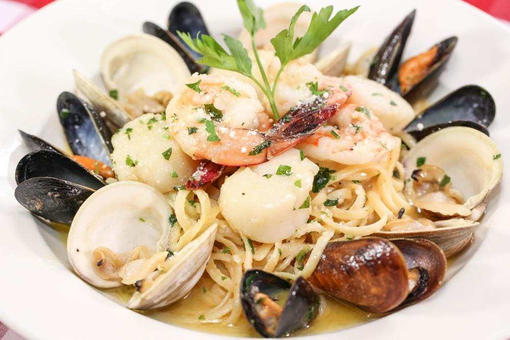 Seafood Combination Over Pasta Photo